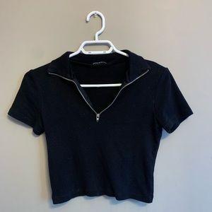 COPY - Brandy Melville Black Half Zip Collar Tee